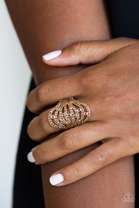 Paparazzi Stratospheric - Brown - Dazzling Rhinestones - Silver Bands - Ring - Lauren's Bling $5.00 Paparazzi Jewelry Boutique