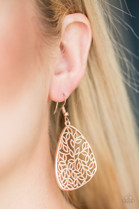 Paparazzi Time To LEAF - Rose Gold - Leafy Filigree - Earrings - Lauren's Bling $5.00 Paparazzi Jewelry Boutique