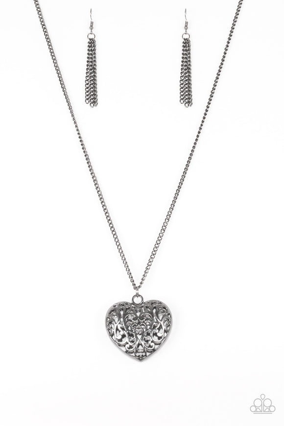 Paparazzi Victorian Virtue - Black - Heart Pendant - Necklace and matching Earrings - Lauren's Bling $5.00 Paparazzi Jewelry Boutique