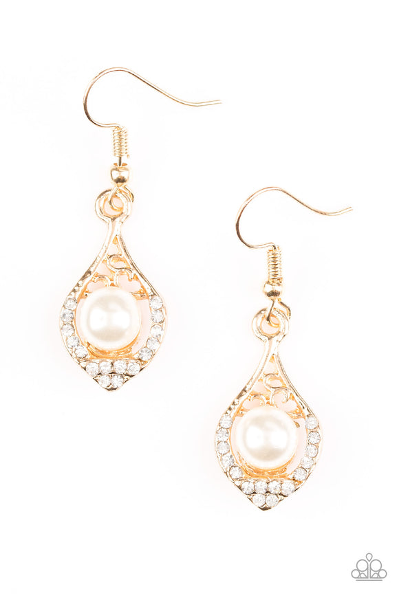Paparazzi Westminster Waltz - Gold - White Pearl - White Rhinestones - Earrings - Lauren's Bling $5.00 Paparazzi Jewelry Boutique
