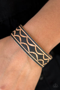Paparazzi Zion Horizon - Black - Leather Stamped Scalloped - Snap Bracelet - Lauren's Bling $5.00 Paparazzi Jewelry Boutique
