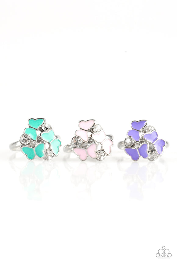 Paparazzi Starlet Shimmer Rings - 10 - Butterfly - Green, Pink, Purple, Multi