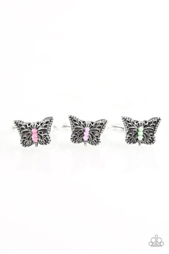 Paparazzi Starlet Shimmer Ring Kits - Butterflies - Pink, Purple, Green & Blue Center