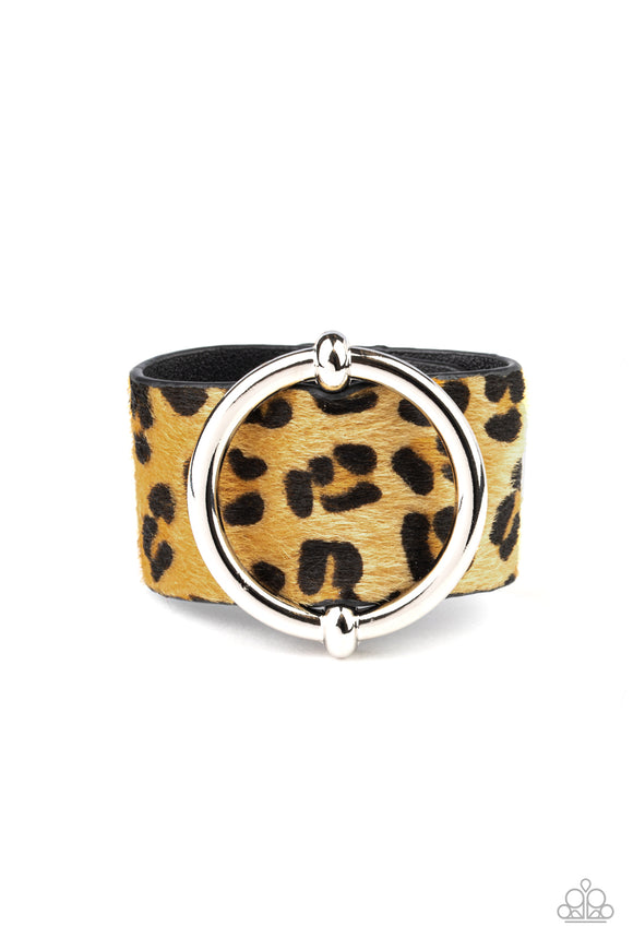Paparazzi Asking FUR Trouble - Yellow - Fuzzy Cheetah - Thick Black Leather Band Bracelet