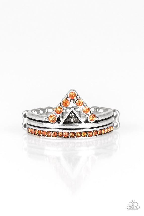 Paparazzi Base Over Apex - Orange - Rhinestones - Dainty Band Ring