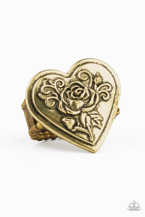 Paparazzi Beloved Bloom - Brass - Heart Ring with Embossed Rosebud