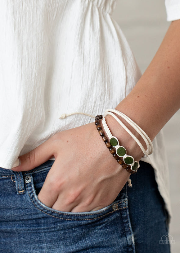 Paparazzi Dream Beach House - Green - White Cording, Brown Wooden Beads - Bracelet