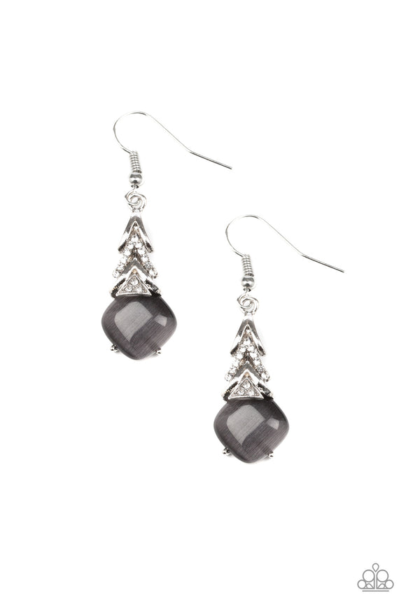 Paparazzi Dreamy Dazzle - Silver - Cat's Eye Moonstone - White Rhinestones - Silver Earrings