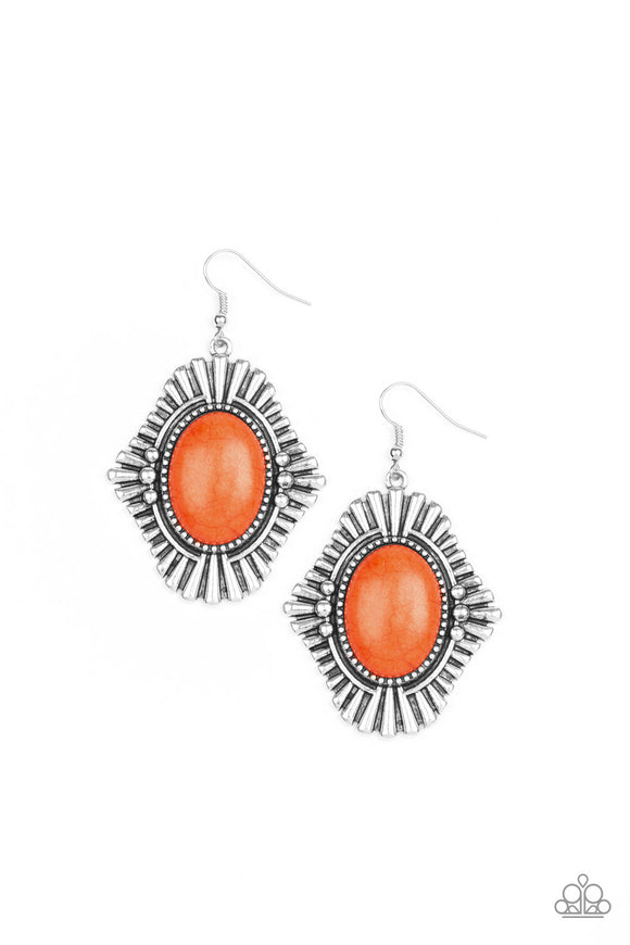 Paparazzi Easy As PIONEER - Orange Stone - Earrings - 2019 Convention Exclusive