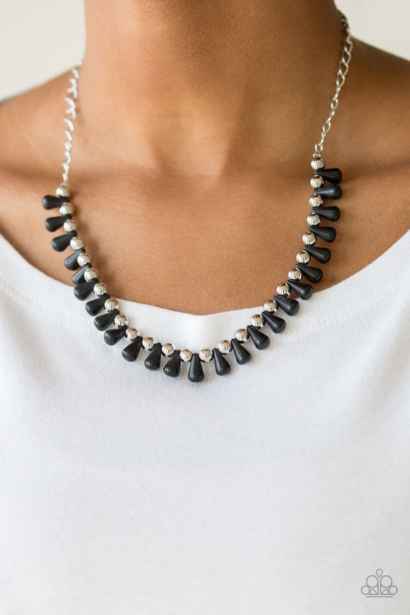 Paparazzi Extinct Species - Black Teardrop Stones - Silver Fringe Necklace & Earrings - Lauren's Bling $5.00 Paparazzi Jewelry Boutique