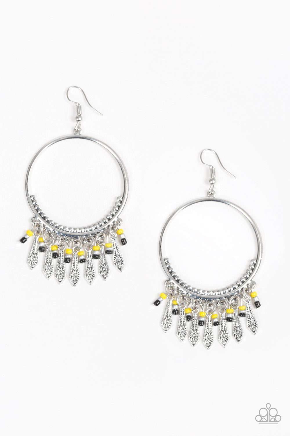 9aade26394bc9 Paparazzi Floral Serenity - Yellow - Silver Tassels Hoop Earrings