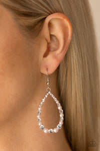 Paparazzi Gala Go-Getter - Pink Pearls - White Rhinestones - Silver Earrings - Lauren's Bling $5.00 Paparazzi Jewelry Boutique