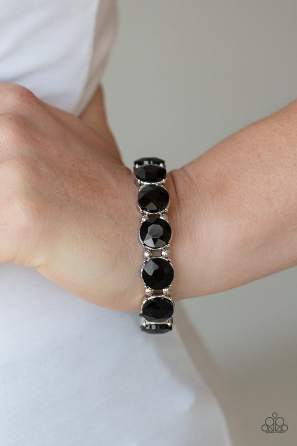 Paparazzi Glitzy Glamorous - Black Rhinestones - Stretchy Band Bracelet - Lauren's Bling $5.00 Paparazzi Jewelry Boutique