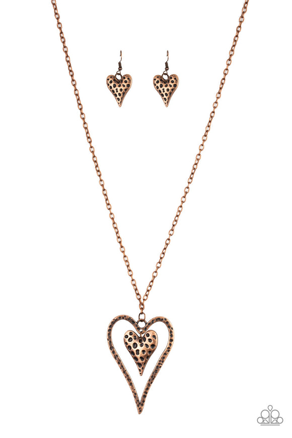 Paparazzi Hardened Hearts - Copper - Hammered Antiqued Texture - Necklace and matching Earrings