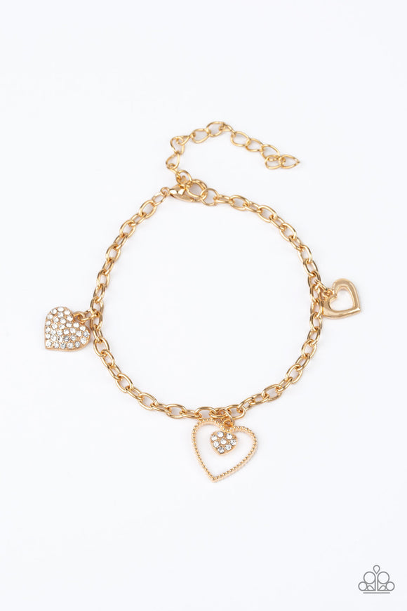 Paparazzi Hearts and Harps - Gold - Hearts and White Rhinestones - Bracelet