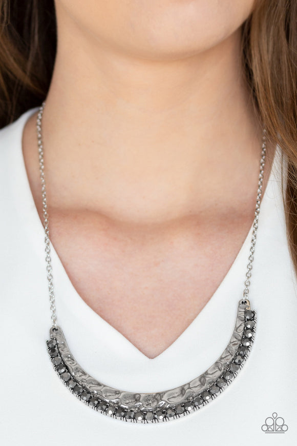 Paparazzi Impressive - Silver - Hammered Finish - Hematite Rhinestones - Necklace and matching Earrings - Lauren's Bling $5.00 Paparazzi Jewelry Boutique