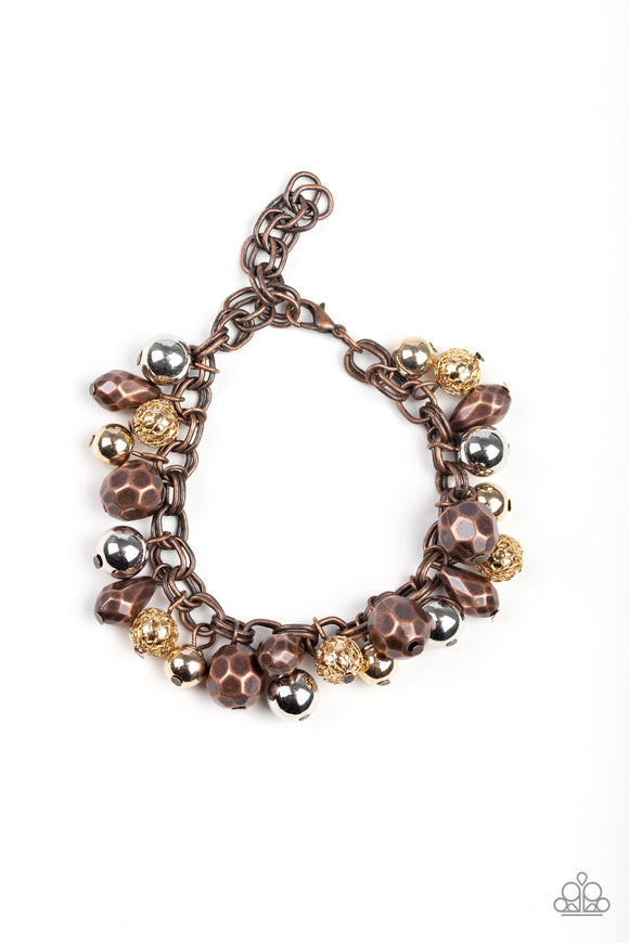 Paparazzi Invest In This - Multi - Faceted Copper, Gold & Silver Beads - Adjustable Bracelet - Lauren's Bling $5.00 Paparazzi Jewelry Boutique