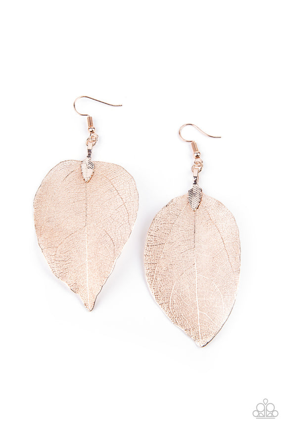Paparazzi Leafy Legacy - Rose Gold - Earrings