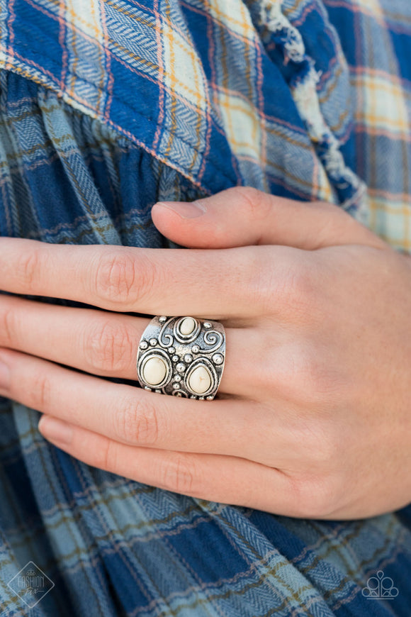 Paparazzi Modern Mountain Ranger - White Stone - Ring - Trend Blend / Fashion Fix Exclusive January 2021 - Lauren's Bling $5.00 Paparazzi Jewelry Boutique