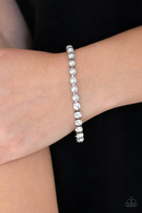 Paparazzi Out Like A SOCIALITE - Silver Pearly Beads - White Rhinestones - Bracelet - Lauren's Bling $5.00 Paparazzi Jewelry Boutique