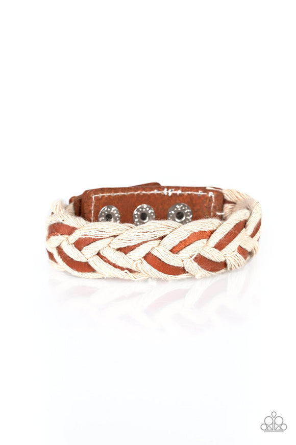 Paparazzi Outback Outlaw - Brown/White - Leather Laces Weave w/White Rope - Urban Bracelet