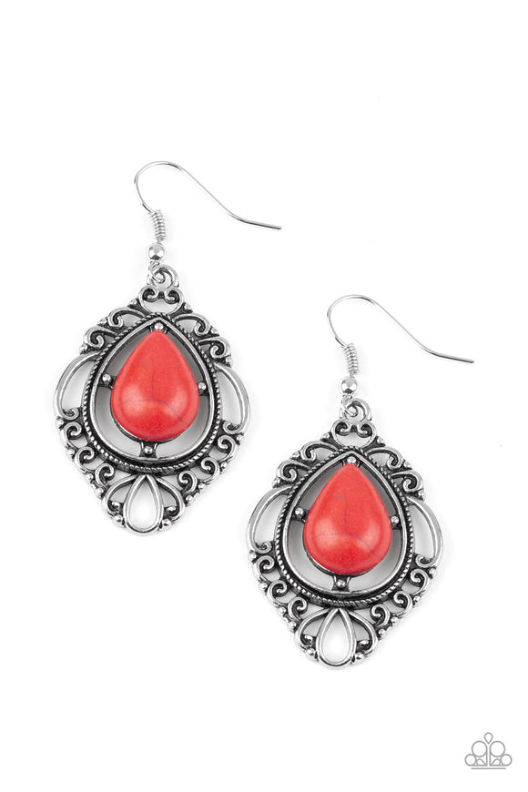 Paparazzi Southern Fairytale - Red Stone - Silver Ornate Earrings - Lauren's Bling $5.00 Paparazzi Jewelry Boutique