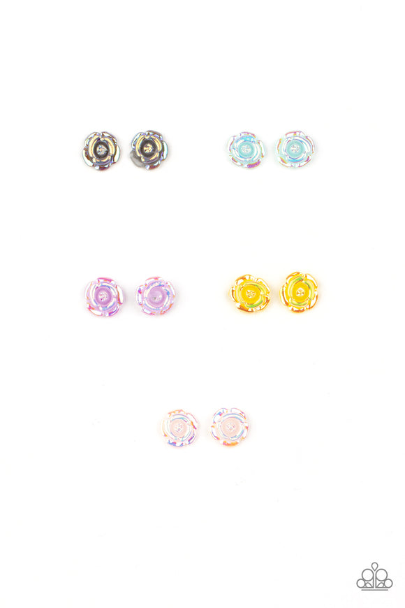 Paparazzi Starlet Shimmer Post Earrings - 10 - Roses! Silver, Pink, Yellow, Blue & Purple - Lauren's Bling $5.00 Paparazzi Jewelry Boutique