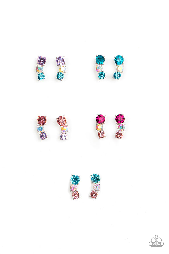 Starlet Shimmer Post Earrings - 10 - Iridescent Rhinestones - Blue, Pink, White & Purple