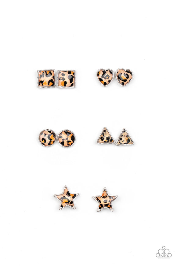 PRE-ORDER - Paparazzi Starlet Shimmer - CHEETAH! - Post Earrings - 10 - Round, Triangle, Heart, Square & Stars