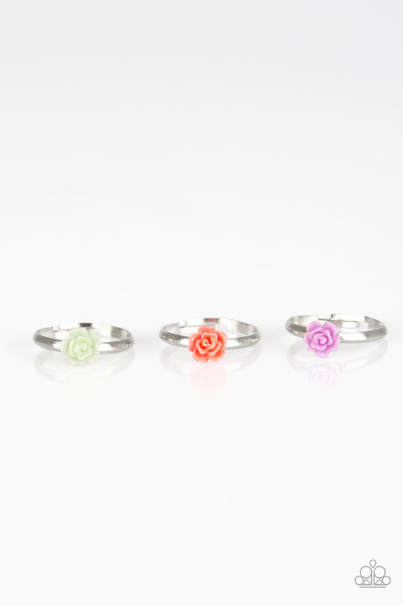 Paparazzi Starlet Shimmer Rings - 10 - Green, Red, Purple and Blue Rosebuds