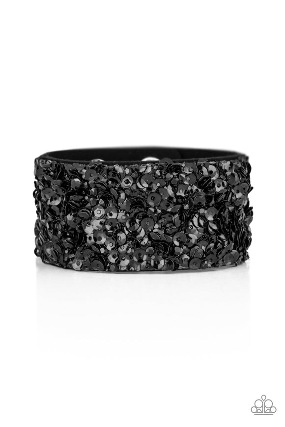 Paparazzi Starry Sequins - Black - Rhinestones and Sequins - Black Suede Band - Bracelet