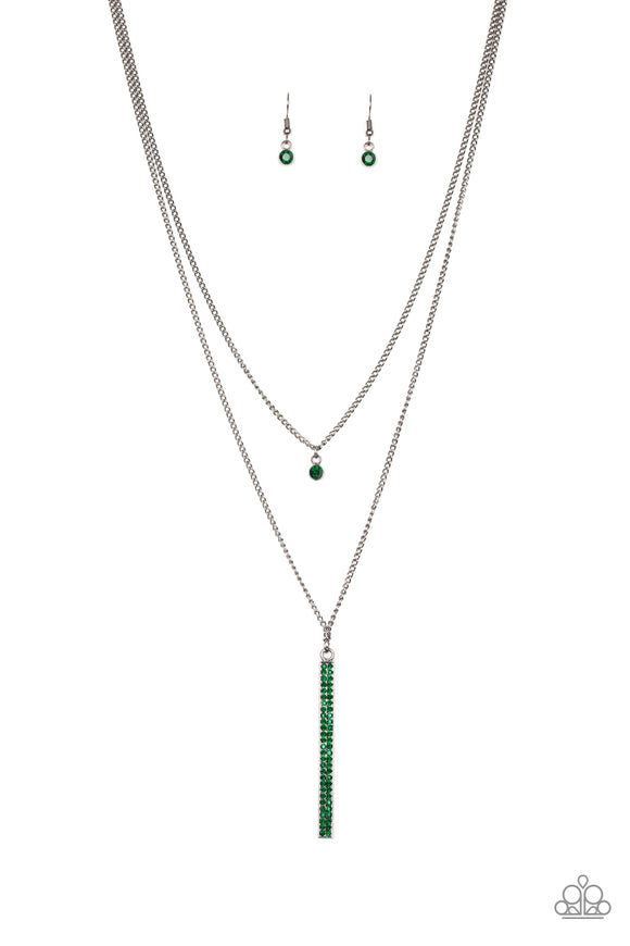 Paparazzi Stratospheric - Green Rhinestones - Gunmetal Chain Necklace and matching Earrings