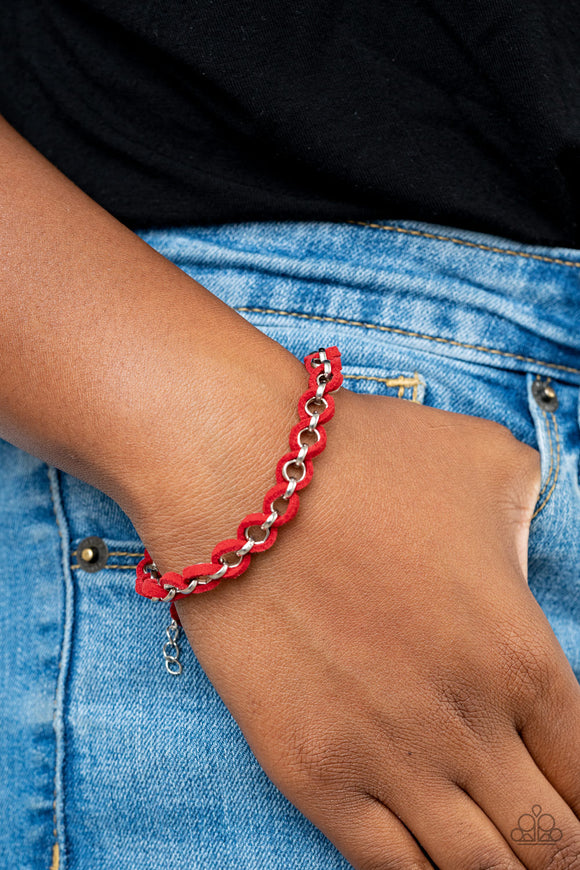 Paparazzi SUEDE Side to Side - Red - Adjustable Bracelet - Lauren's Bling $5.00 Paparazzi Jewelry Boutique