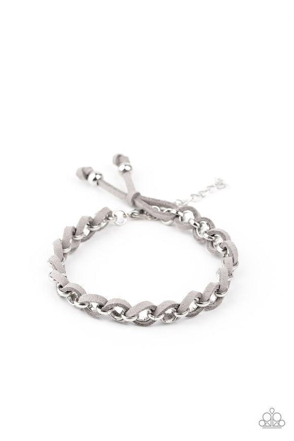 Paparazzi SUEDE Side to Side - Silver - Adjustable Bracelet - Lauren's Bling $5.00 Paparazzi Jewelry Boutique