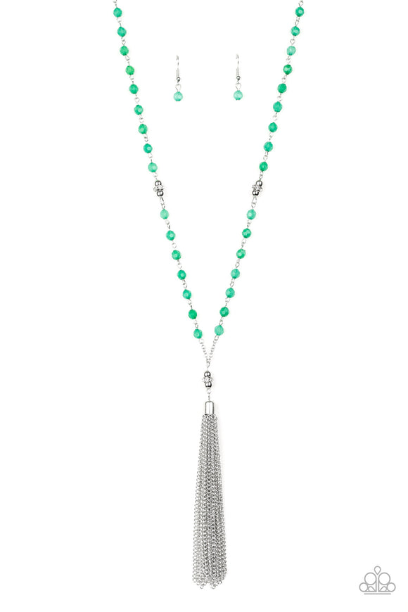 Paparazzi Tassel Takeover - Green - White Rhinestones - Silver Tassel - Necklace and matching Earrings
