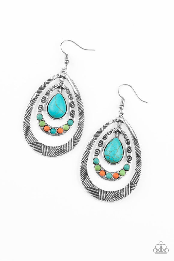 Paparazzi Terra Teardrops - Multi - Turquoise, Green & Orange Stones - Silver Frame - Earrings