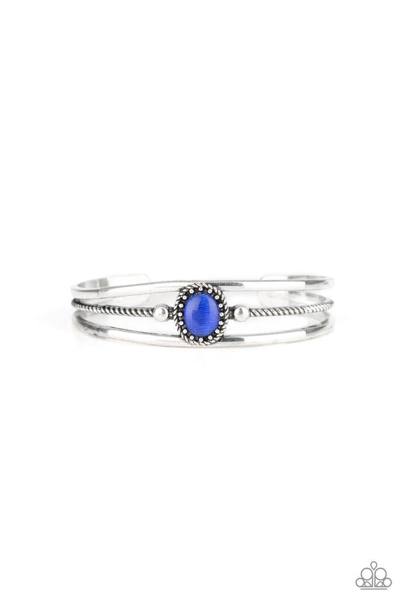 Paparazzi Top Of The Pop Charts - Blue - Cat's Eye Stone - Silver Cuff Bracelet