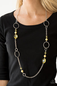 Paparazzi Very Visionary - Yellow Beads - Silver Chain Necklace and matching Earrings - Lauren's Bling $5.00 Paparazzi Jewelry Boutique