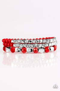 Paparazzi Beaded Bravado - Red Beads - Faceted Silver - Set of 3 Bracelets - Lauren's Bling $5.00 Paparazzi Jewelry Boutique