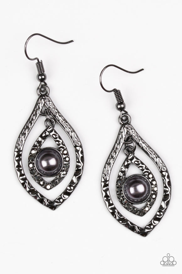 Paparazzi Breaking Glass Ceilings - Black - Marquise shaped - Gunmetal Hammed - Earrings - Lauren's Bling $5.00 Paparazzi Jewelry Boutique