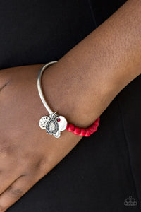 Paparazzi Ever Everest - Red Stone - Silver Bar Stretchy Bracelet - Lauren's Bling $5.00 Paparazzi Jewelry Boutique