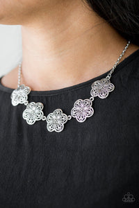 Paparazzi Garden Groove - Silver - Ornate Flowers - Necklace & Earrings - Lauren's Bling $5.00 Paparazzi Jewelry Boutique