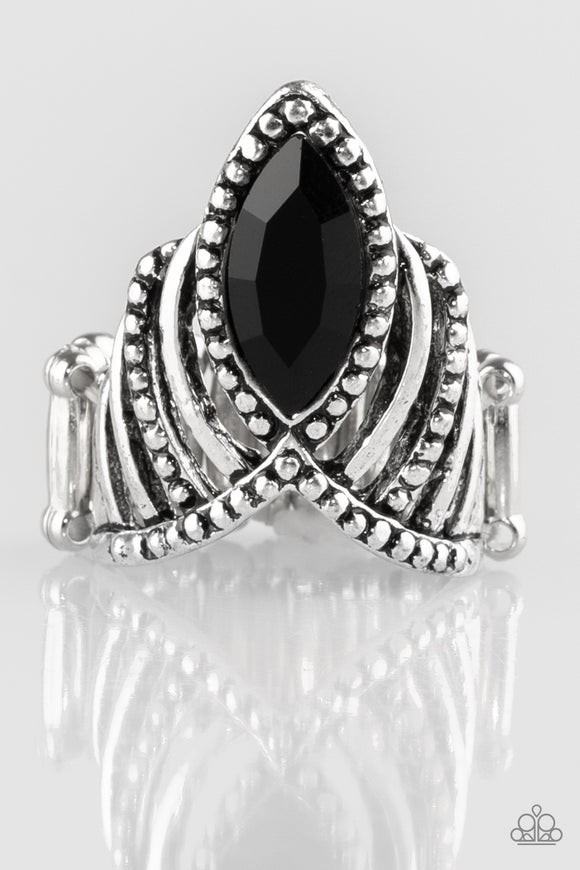 Paparazzi Heres Your Crown - Black Rhinestone Ring - Lauren's Bling $5.00 Paparazzi Jewelry Boutique