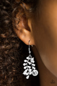 Paparazzi Make You VINE! - White Rhinestones - Shimmery Silver Vine - Earrings - Lauren's Bling $5.00 Paparazzi Jewelry Boutique