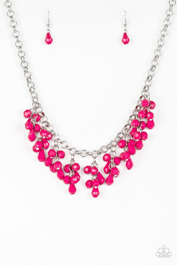 Paparazzi Modern Macarena - Pink Teardrop Beads - Necklace and matching Earrings - Lauren's Bling $5.00 Paparazzi Jewelry Boutique