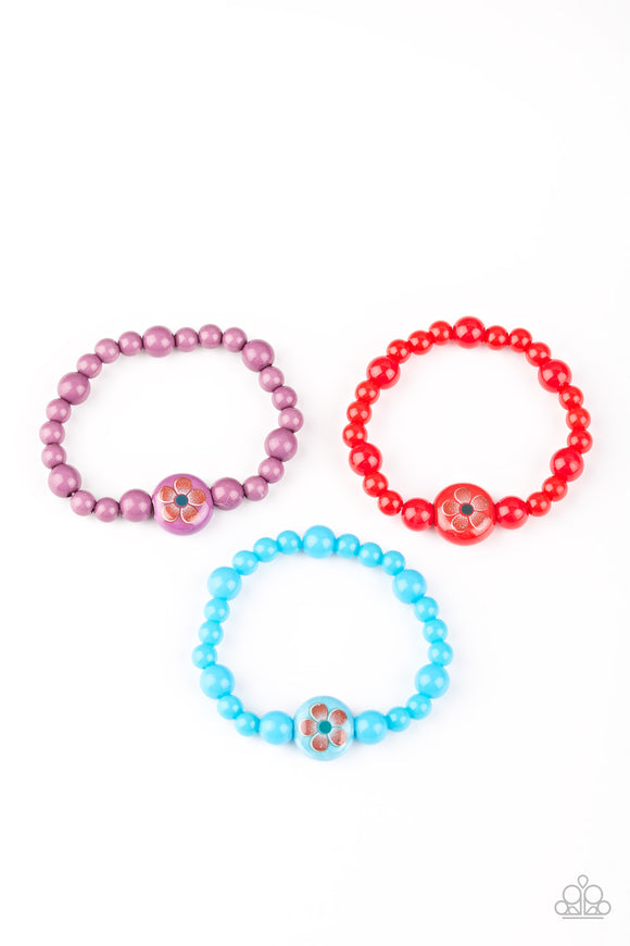Paparazzi Starlet Shimmer Bracelets - 10 - Pink, Red, Blue & Green w/Flower Bead - Lauren's Bling $5.00 Paparazzi Jewelry Boutique