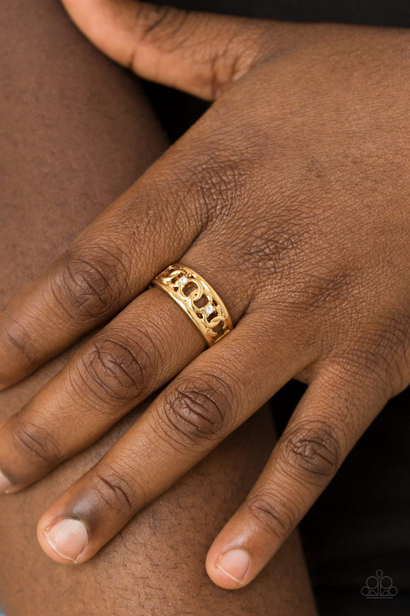 Paparazzi Street Cred - Gold - White Rhinestones - Chain Links - Dainty Band Ring - Lauren's Bling $5.00 Paparazzi Jewelry Boutique