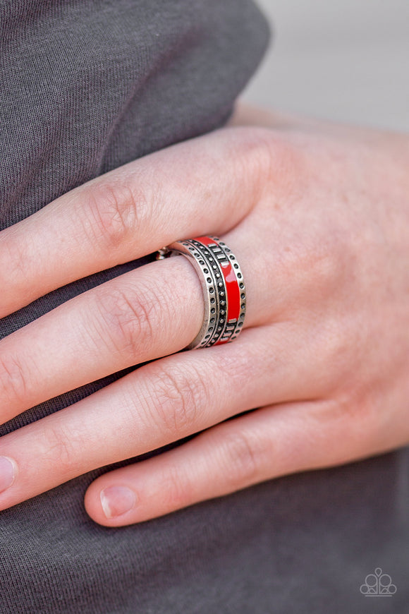 Paparazzi Super Summer - Red - Silver Ring - Lauren's Bling $5.00 Paparazzi Jewelry Boutique