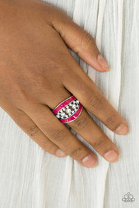 Paparazzi Trending Treasure - Pink - White Rhinestones - Silver Ring - Lauren's Bling $5.00 Paparazzi Jewelry Boutique