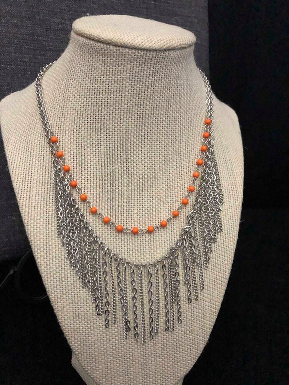 Paparazzi Fierce In Fringe - Orange / Coral - Silver Necklace and matching Earrings - Exclusive